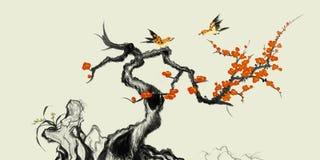 Pintura china tradicional de los flores de la piedra y del ciruelo stock de ilustración