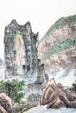 Pintura china tradicional, paisaje stock de ilustración