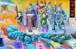 Pintura chinesa do povo chinês antigo na guerra imagem de stock
