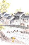 Pintura chinesa tradicional do landscpe do país ilustração stock