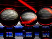 A pintura clara vermelha branca e de néon prateada reflete em Crystal Spheres foto de stock royalty free