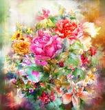 Pintura color de rosa de la acuarela de las flores coloridas abstractas Primavera multicolora en naturaleza Fotos de archivo libres de regalías