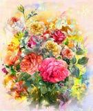 Pintura color de rosa de la acuarela de las flores coloridas abstractas Primavera multicolora en naturaleza Foto de archivo libre de regalías