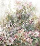 Pintura colorida abstracta de la acuarela de las flores Primavera multicolora Fotografía de archivo