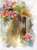 Pintura colorida abstracta de la acuarela de las flores Primavera multicolora en naturaleza Imagen de archivo libre de regalías