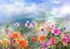 Pintura colorida abstracta de la acuarela de las flores Primavera multicolora en naturaleza Imágenes de archivo libres de regalías