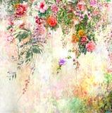 Pintura colorida abstracta de la acuarela de las flores Primavera multicolora en naturaleza libre illustration