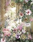 Pintura colorida abstracta de la acuarela de las flores Primavera multicolora en naturaleza Foto de archivo
