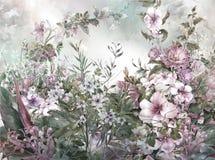 Pintura colorida abstrata da aquarela das flores Mola ilustração royalty free