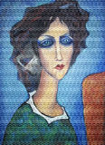 Pintura colorida acrílica Retrato da mulher Fotos de Stock Royalty Free