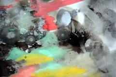 Pintura colorida da aquarela no papel queimado e na cera azul Imagens de Stock Royalty Free