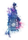Pintura colorida de la acuarela de Big Ben Imagen de archivo libre de regalías