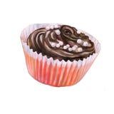 Pintura colorida de la acuarela de la pequeña magdalena con crema y arroz del chocolate en el top Fotos de archivo libres de regalías