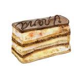 Pintura colorida de la acuarela del pedazo de la torta de la ópera del chocolate Pasteles coloridos realistas dibujados mano Fotos de archivo