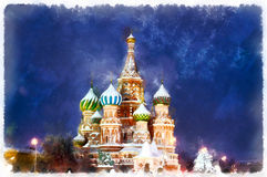 Pintura colorida de la catedral del ` s de la albahaca del santo en la noche libre illustration