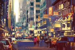 Pintura colorida de la gente que camina en la calle de la ciudad