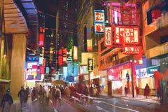 Pintura colorida de la gente que camina en la calle de la ciudad en la noche