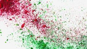 Pintura colorida del polvo encendido de la leche Primer del placer rojo y verde colorido de la pintura del polvo en la superficie metrajes