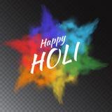 A pintura colorida do pó do vetor nubla-se no fundo transparente para cartões a Holi feliz - festival indiano da cor Fotos de Stock Royalty Free