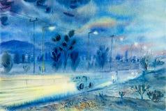 Pintura colorido de la atmósfera y de la emoción de la tarde Imágenes de archivo libres de regalías