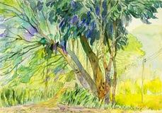 Pintura colorido de árbol y de la emoción en fondo de la montaña Imagen de archivo