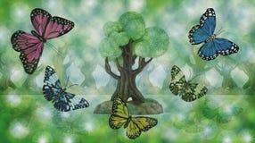 Pintura com borboletas Imagens de Stock
