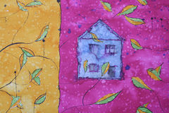 Pintura com casa azul Fotos de Stock