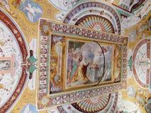 Pintura cristiana religiosa ortodoxa del icono en el tejado de la iglesia fotografía de archivo libre de regalías