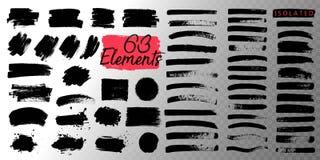 Pintura, curso da escova da tinta, linha ou textura preta Imagem de Stock