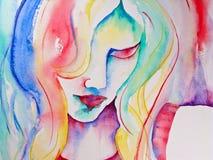 Pintura da aguarela da mulher que olha para baixo Fotos de Stock Royalty Free
