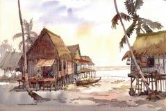 Pintura da aguarela da vila Imagens de Stock Royalty Free