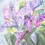 Pintura da aguarela Um ramalhete dos lilás Foto de Stock Royalty Free