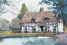 Pintura da aquarela da casa da casa de campo no lado do país fotos de stock
