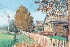 Pintura da aquarela da casa da casa de campo no lado do país imagem de stock royalty free