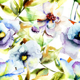 Pintura da aquarela com as flores azuis bonitas Fotos de Stock