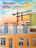 A pintura da aquarela com pena da tinta alinha a paisagem da cidade - casas e guindastes das construções - durante o por do sol ilustração royalty free