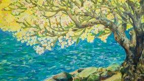 Pintura da aquarela da paisagem da natureza Imagens de Stock