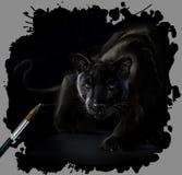 Pintura da aquarela da pantera Foto de Stock Royalty Free