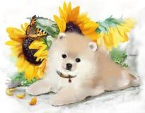 Pintura da aquarela do cachorrinho Fotos de Stock