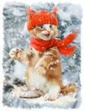 Pintura da aquarela do gatinho do gengibre Fotos de Stock Royalty Free