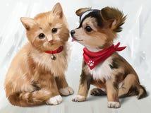 Pintura da aquarela do gato & do cão Fotos de Stock