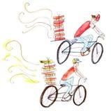 Pintura da aquarela dos ciclistas da entrega da pizza no fundo branco Imagem de Stock Royalty Free