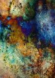 Pintura da aquarela e colagem abstratas do computador Fundo da cor com pontos Imagens de Stock