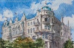 Pintura da aquarela no papel, arte finala moderna, cidade europeia, conceito da aquarela Conceito da arquitetura Fotos de Stock Royalty Free