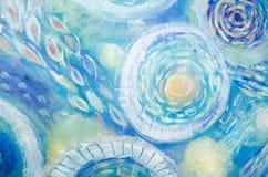 Pintura da arte abstrata Mundo subaquático Fundo pintado à mão azul abstrato Foto de Stock Royalty Free