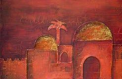 Pintura da cidade oriental Fotos de Stock Royalty Free