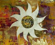 Pintura da colagem com s dourado Foto de Stock