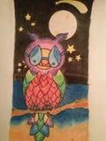 Pintura da coruja Fotografia de Stock