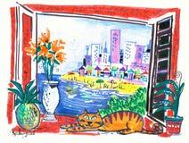 Pintura da estância de Verão Foto de Stock