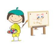 Pintura da fêmea ou da menina do artista na lona ilustração do vetor